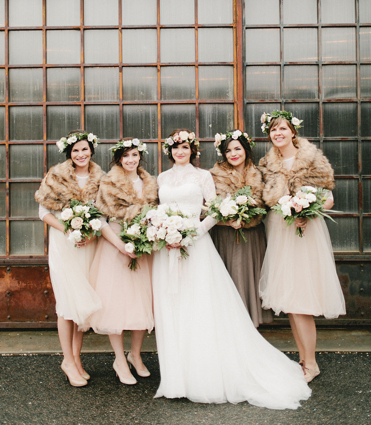 fur wrap bridesmaids