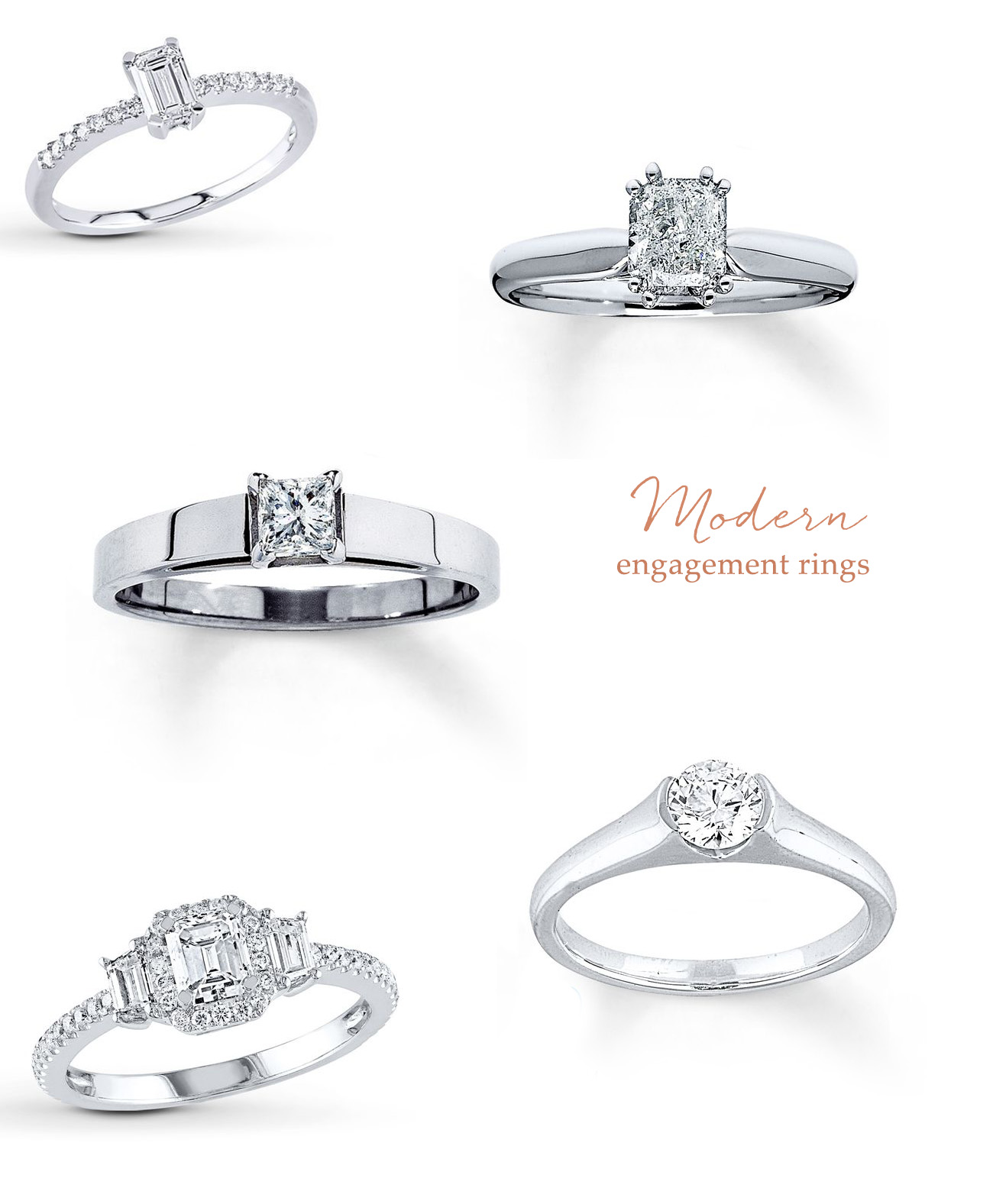 Modern engagement rings from Jared
