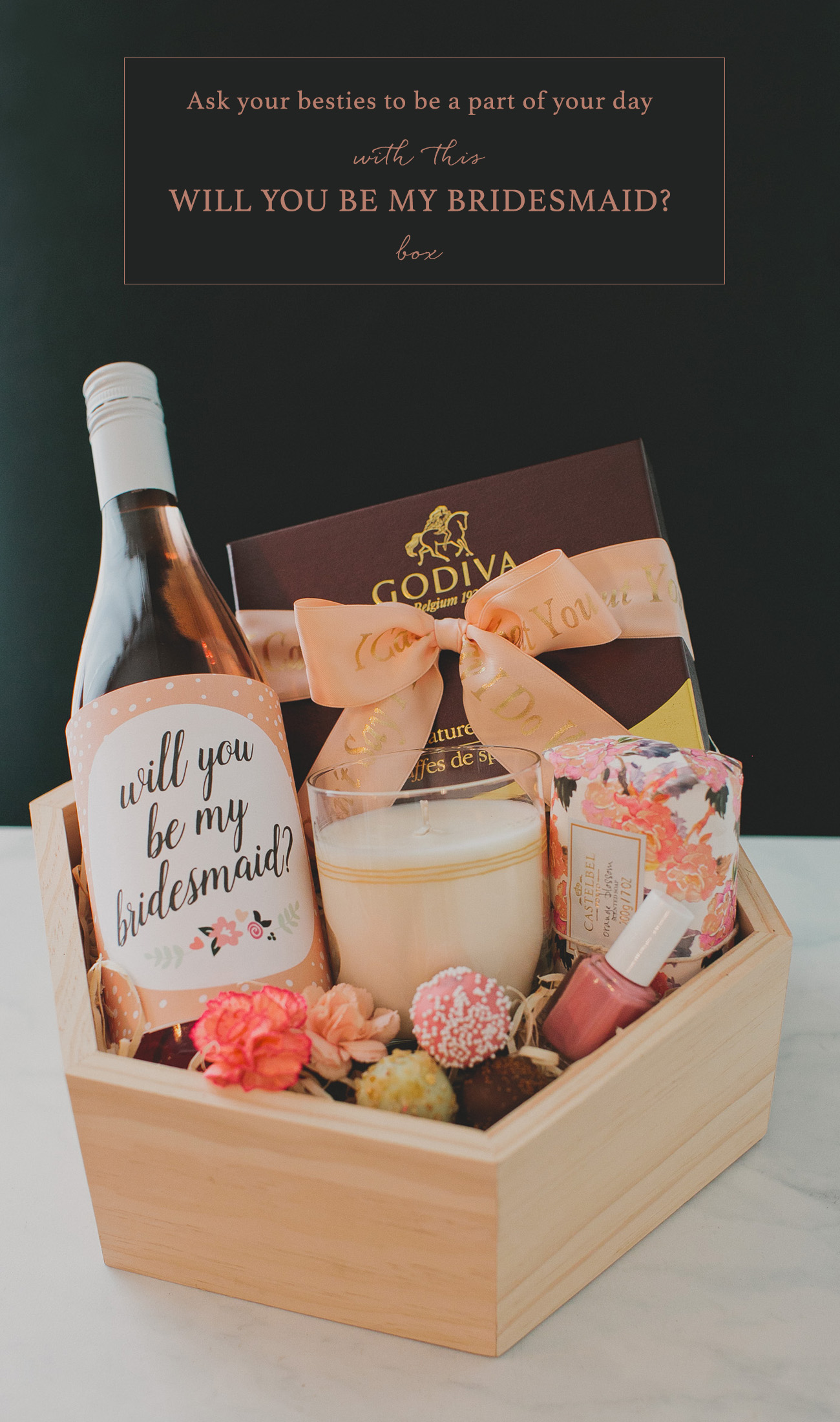 Diy bridesmaid gift box with godiva green wedding shoes for Bride gifts from bridesmaid