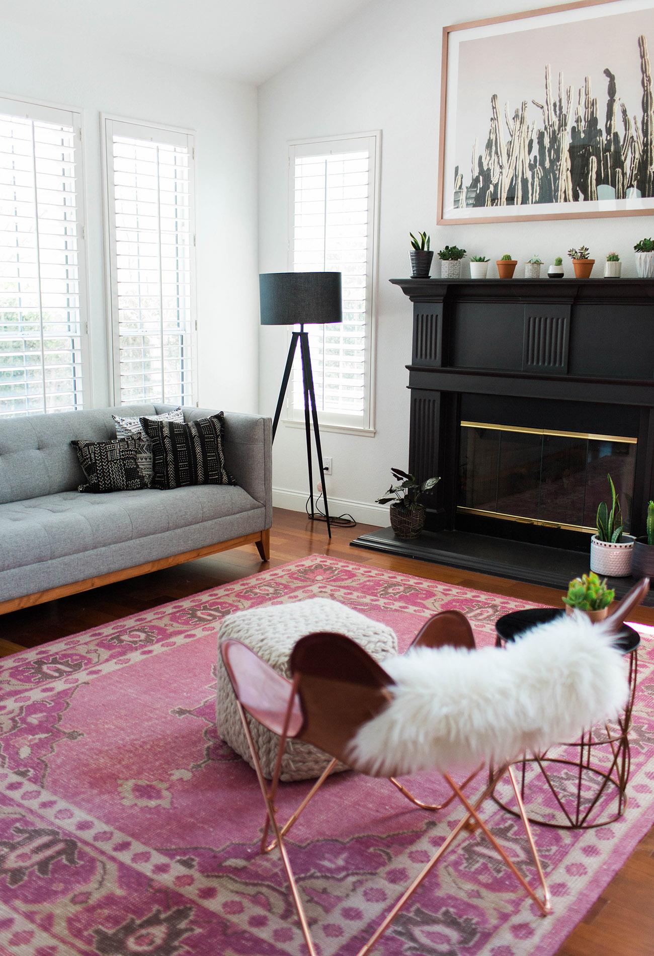 boho living room with cactus print