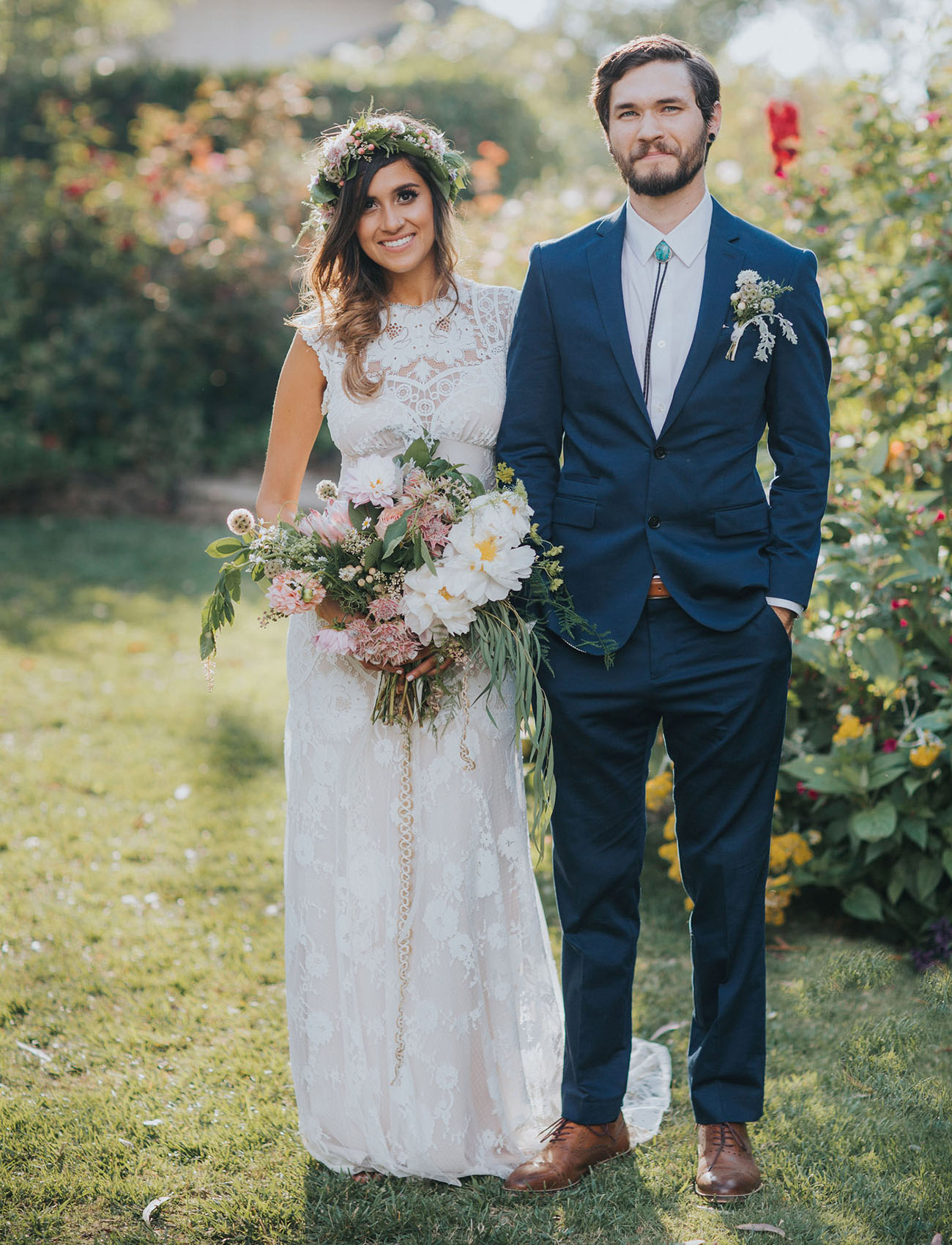 Bohemian California Garden Wedding: Brittany + Andrew - Green ...