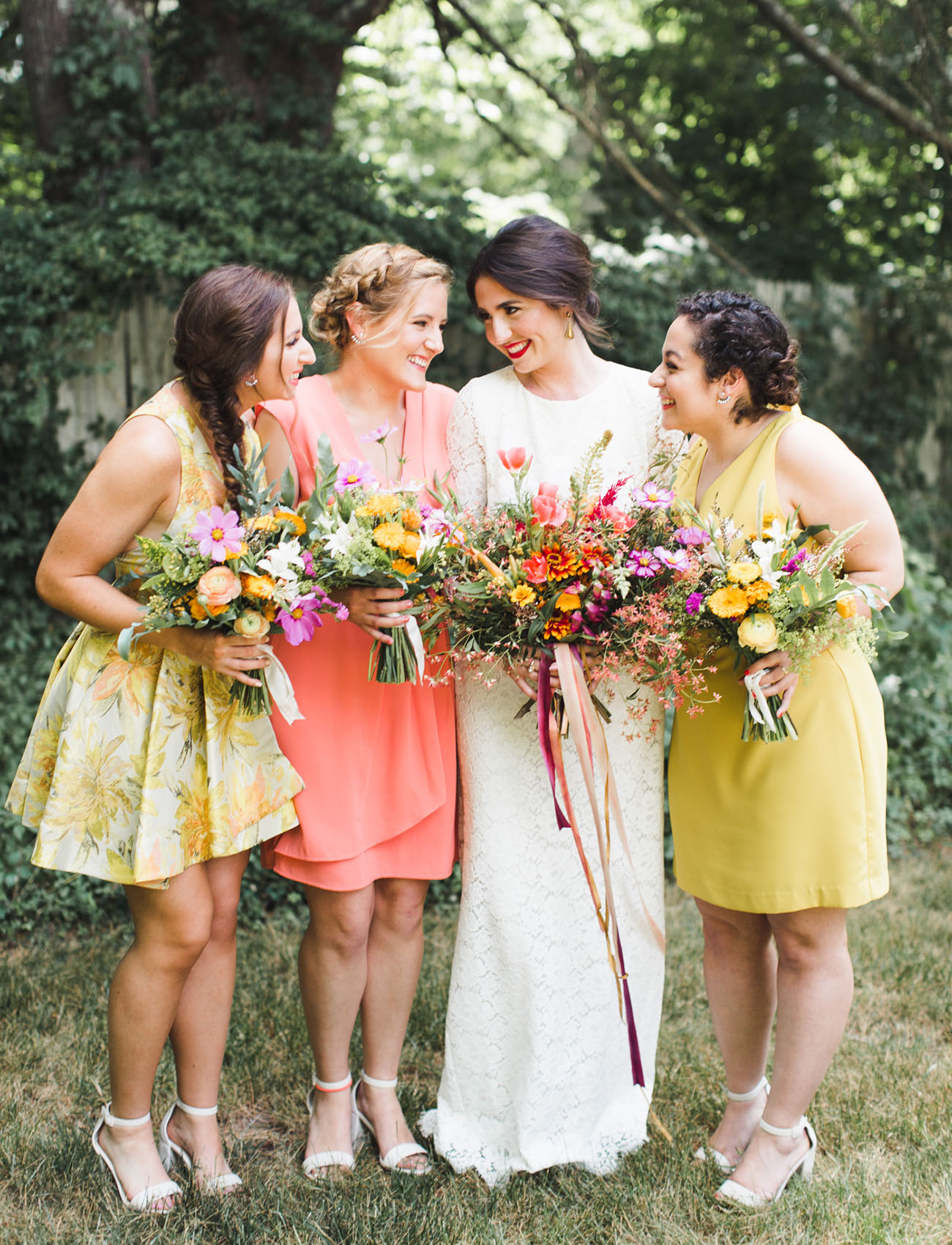 yellow and peach bridesmaids