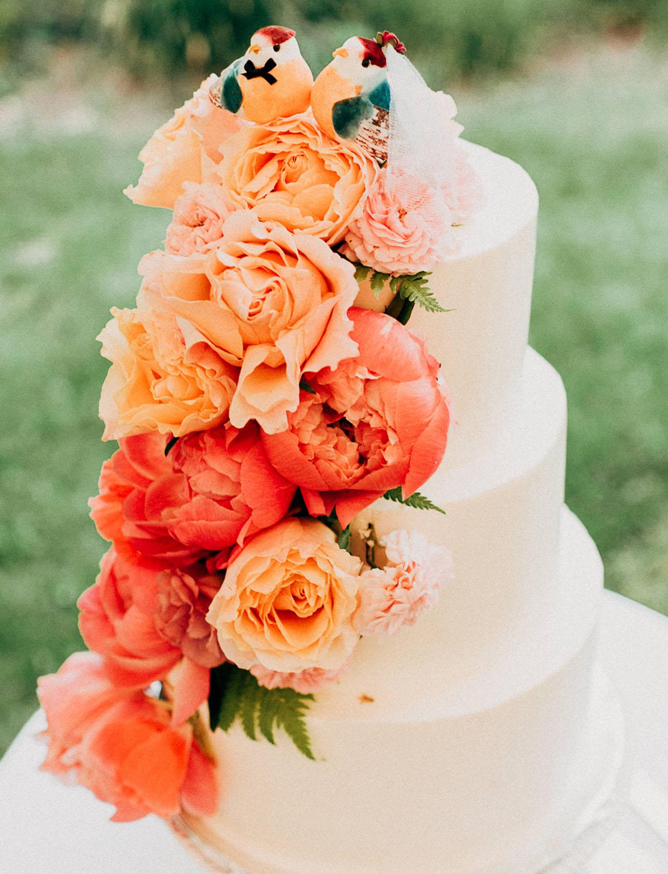 orange cake flowers