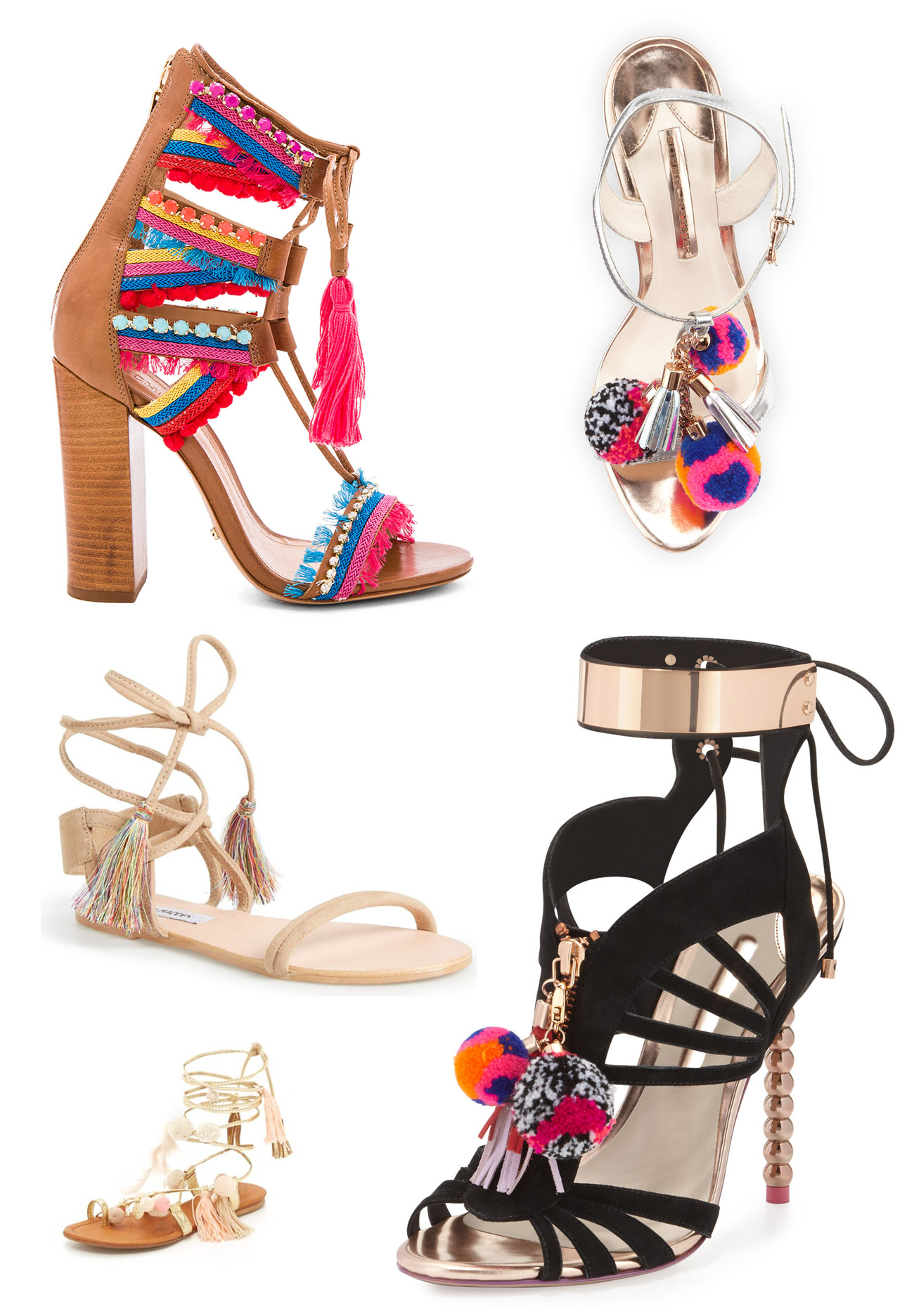 shoes with tassels and poms