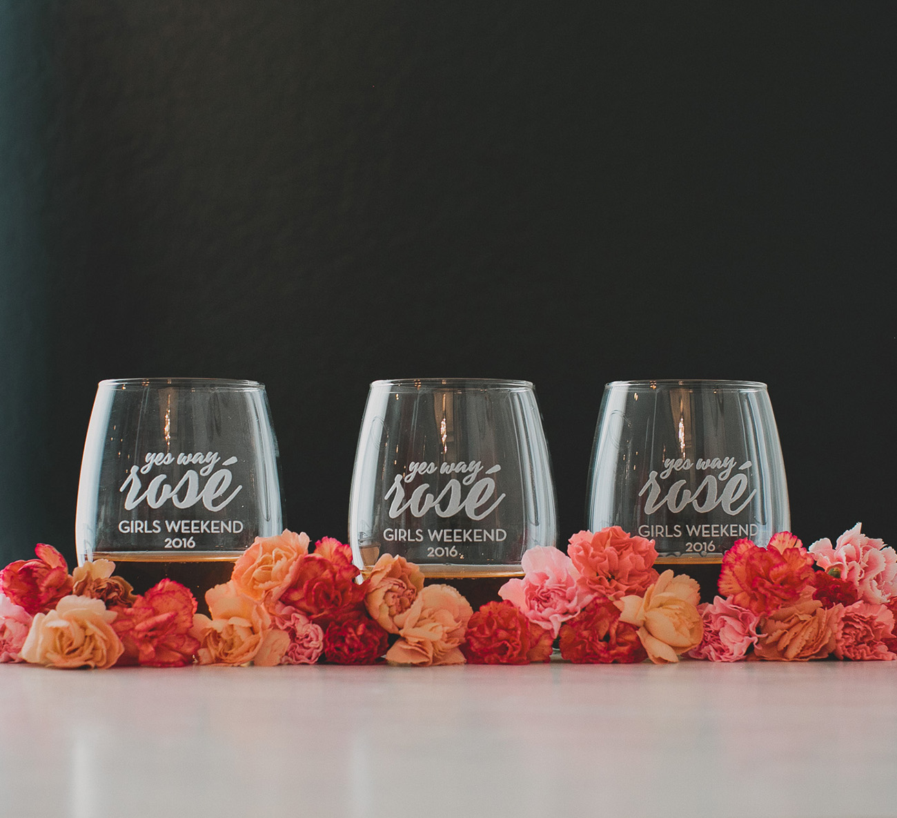 rose wine glasses for a bachelorette party