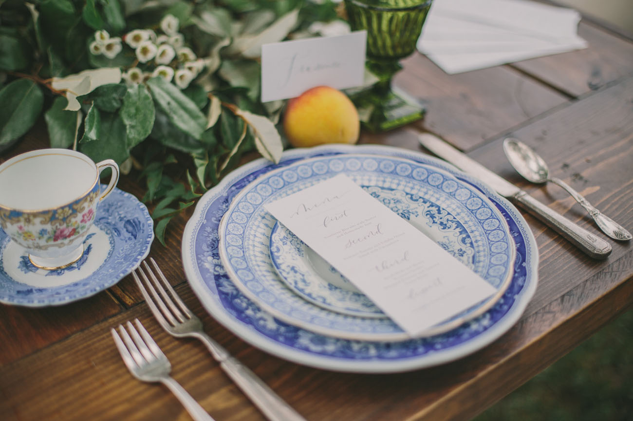 blue tile plates
