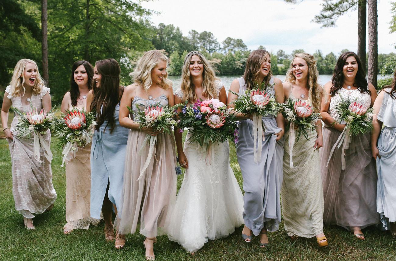pastel bridesmaids