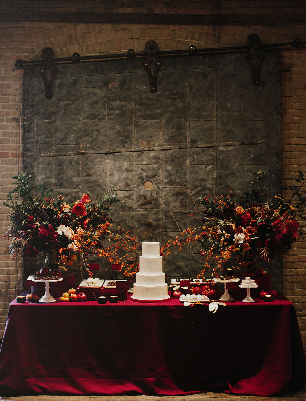industrial red cake table