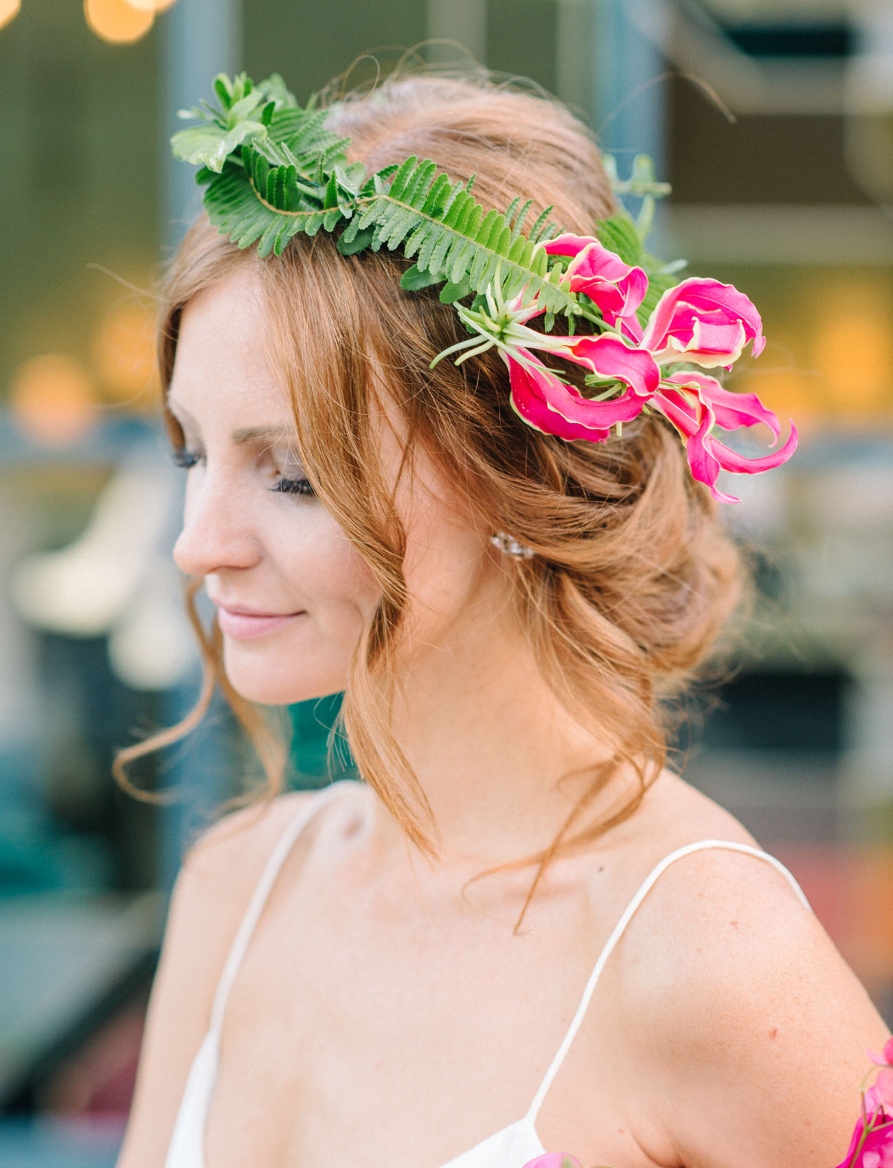 fern floral hair piece