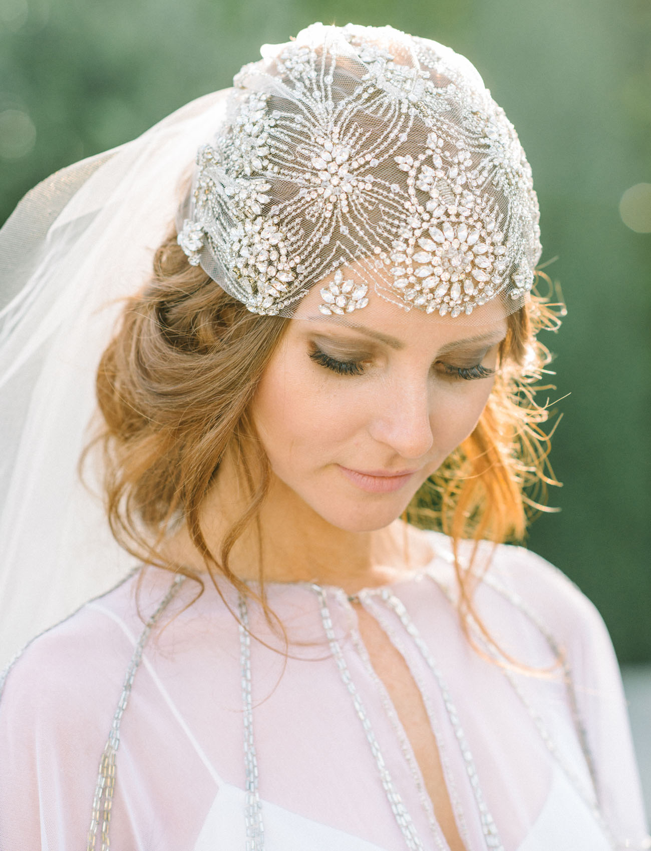 jeweled bridal hair cap