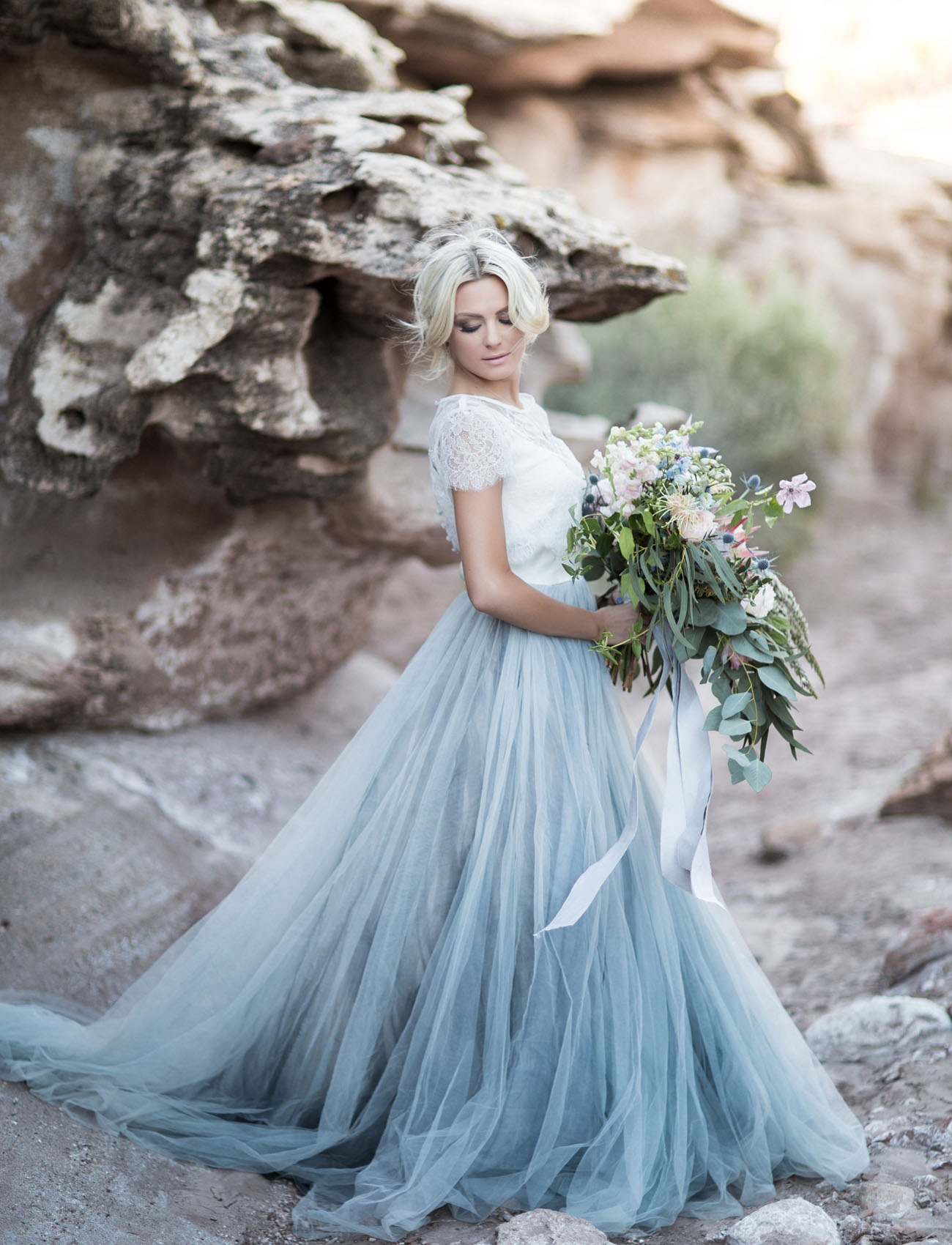 blue tulle wedding gown - green wedding shoes