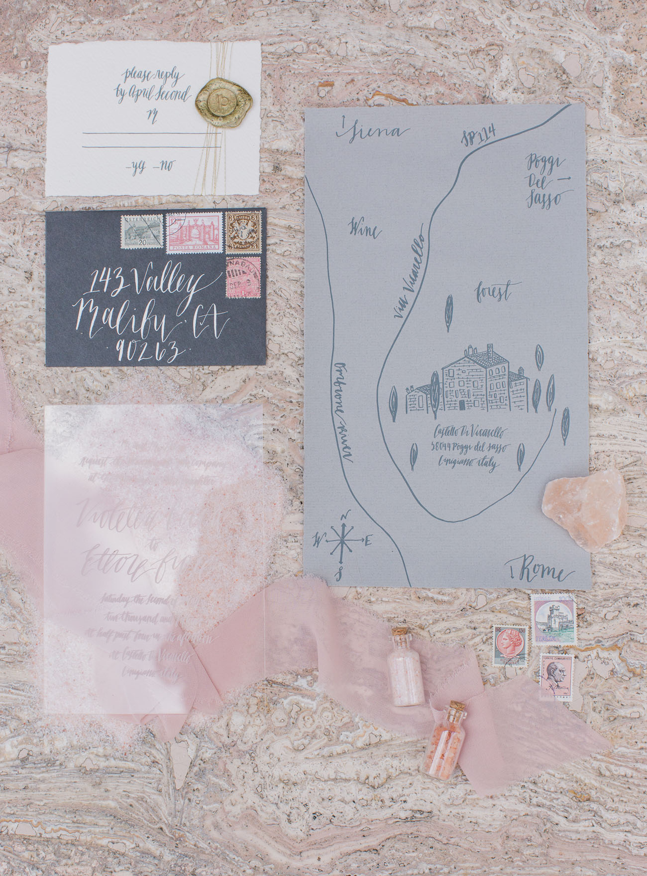 gray wedding map