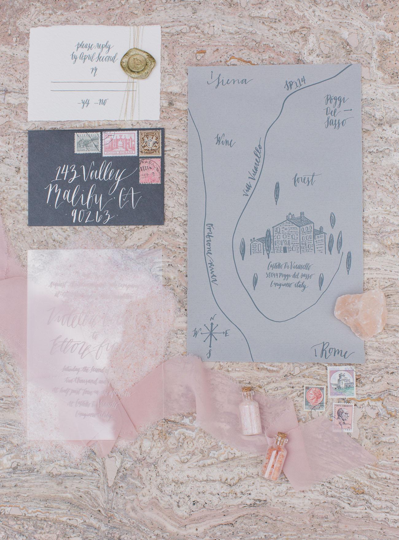 gray wedding map