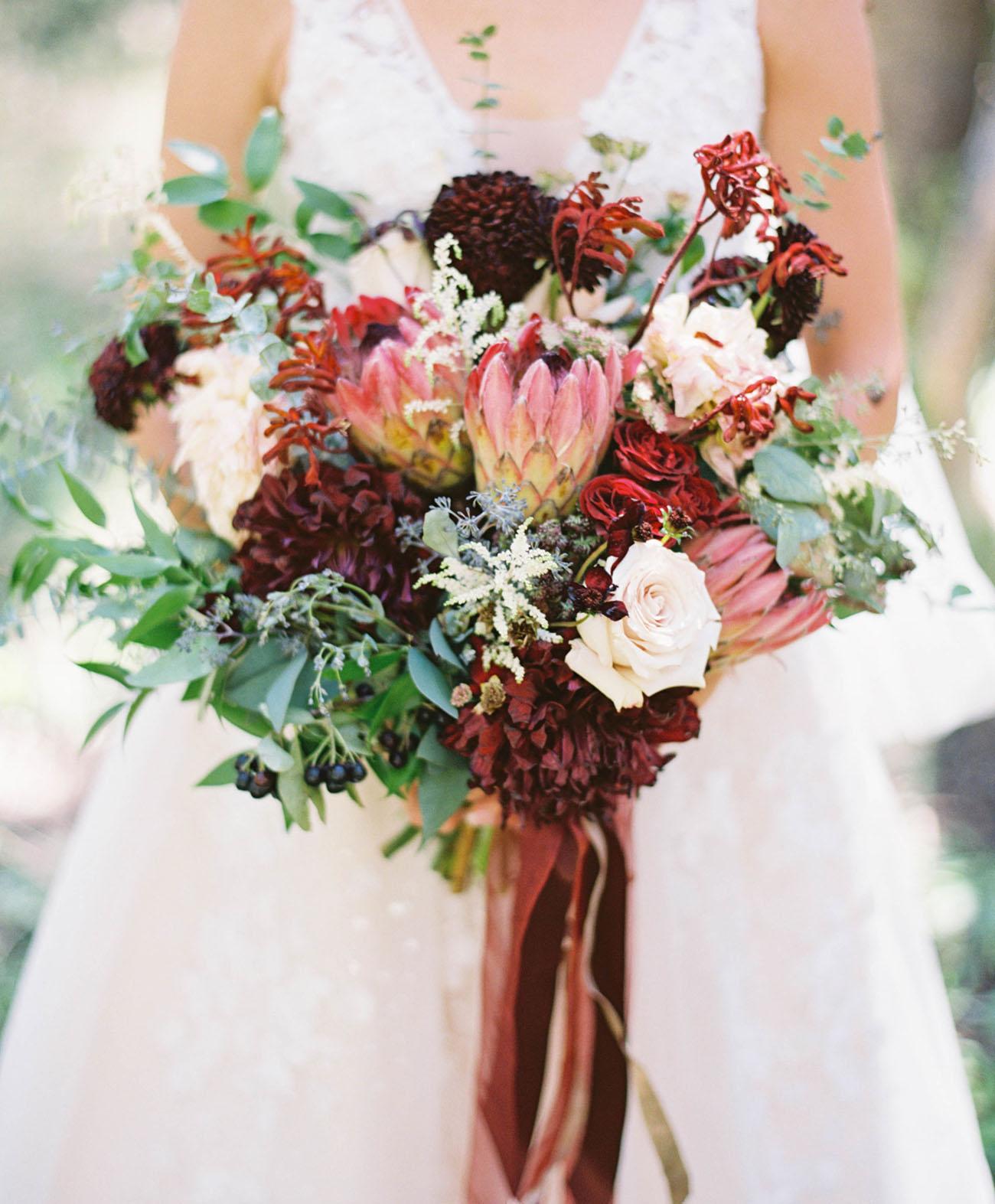 burgundy protea bouquets