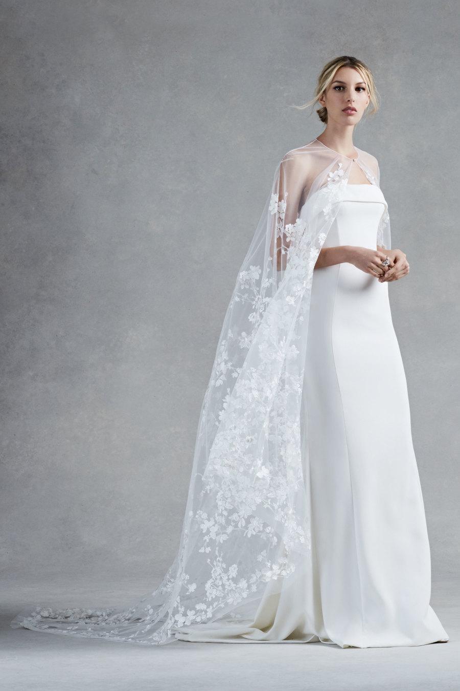 oscar dela renta cape wedding dress