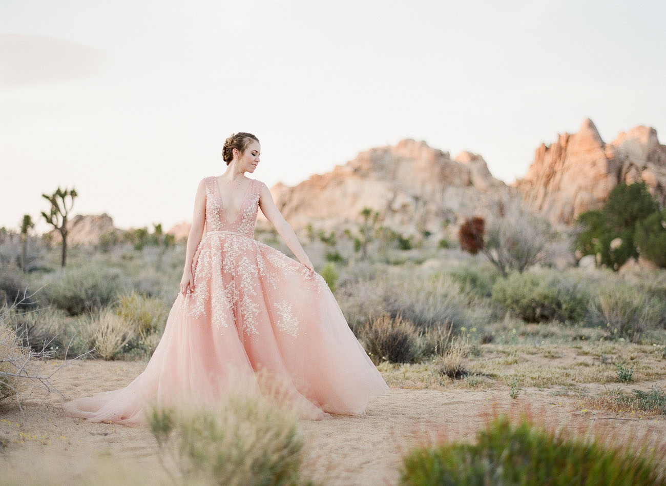 A Dreamy Pink Wedding Dress captured in Joshua Tree