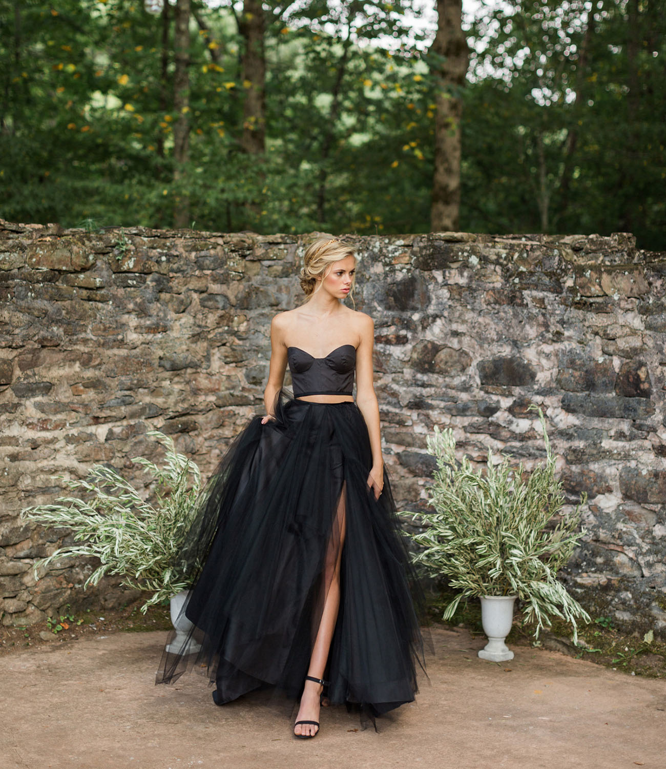 Fall gothic bridal inspiration with a black gown green for What color shoes to wear with black dress to wedding