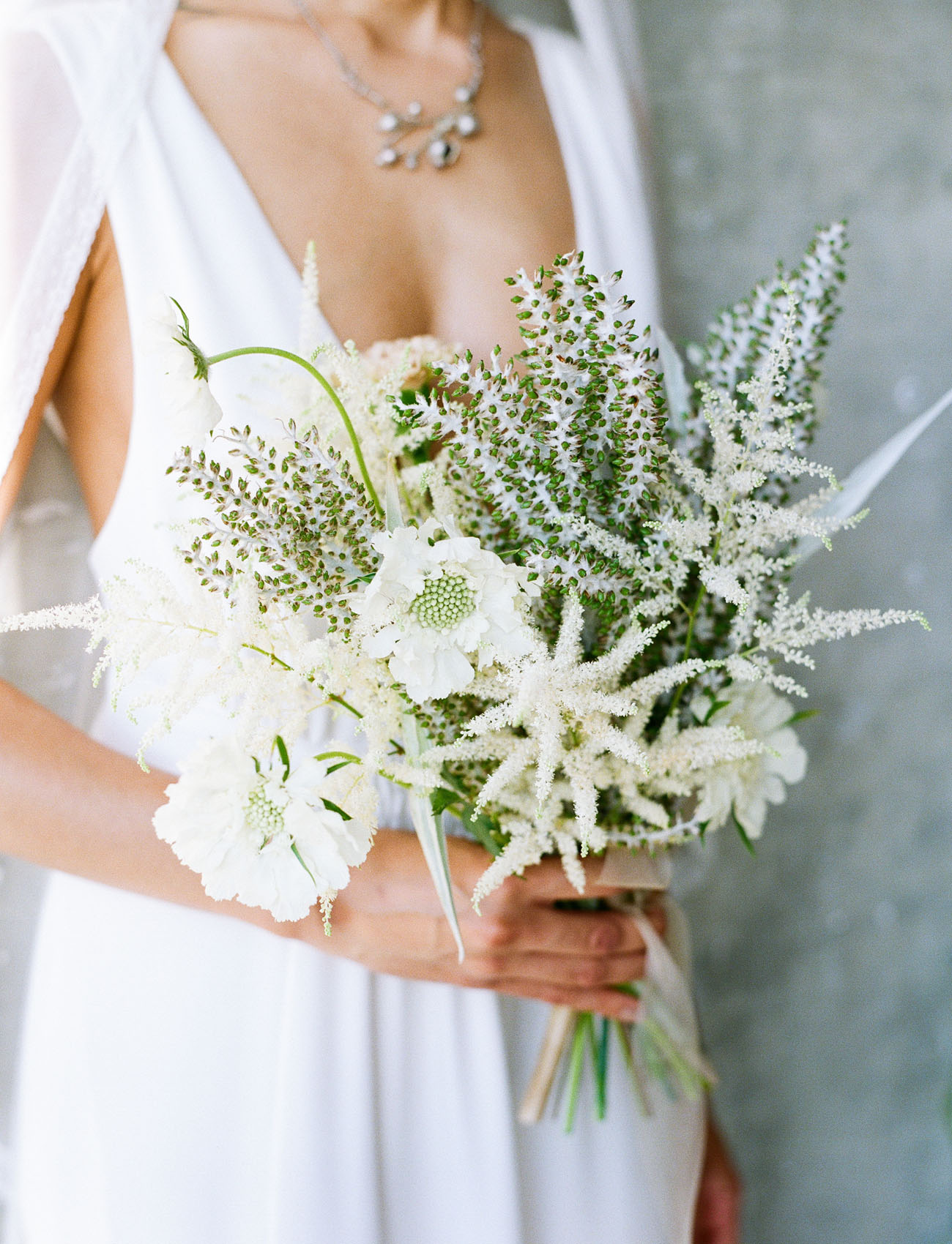 white scabiosa bouquet