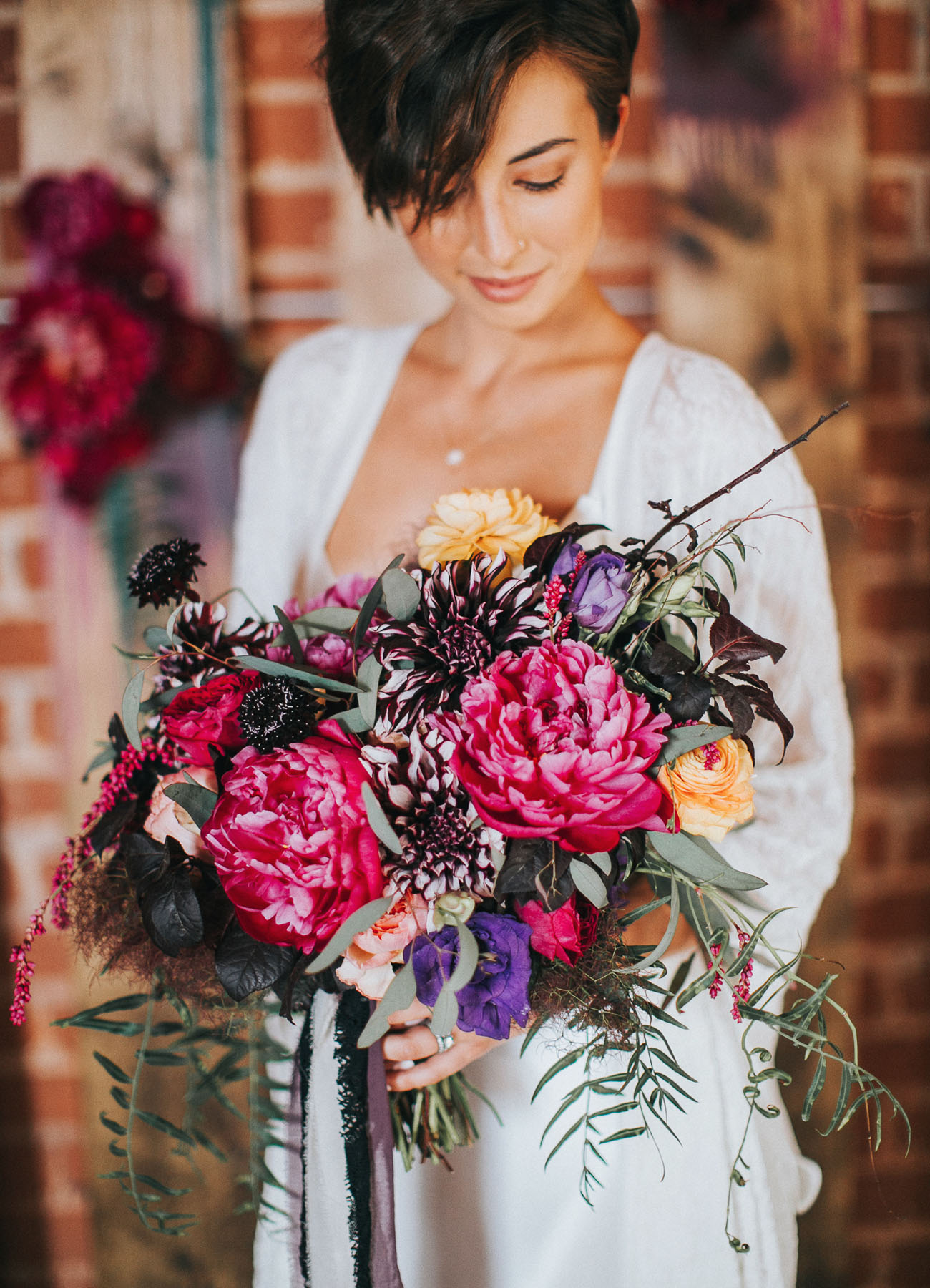 dark peony bouquet