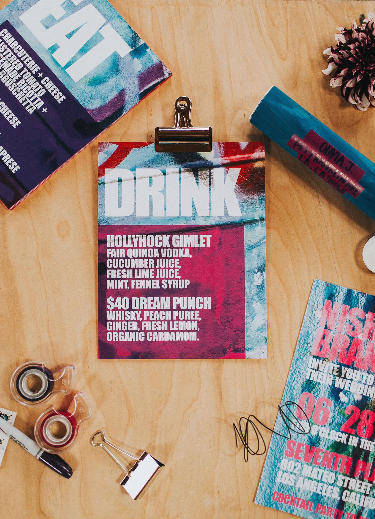 modern drink menu