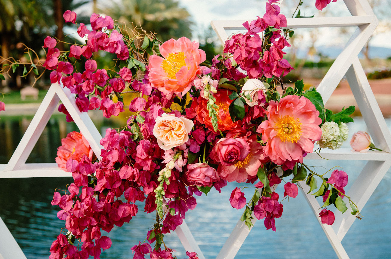 Bougainvillea filled palm springs wedding andrea brian green peonies and bougainvillea mightylinksfo