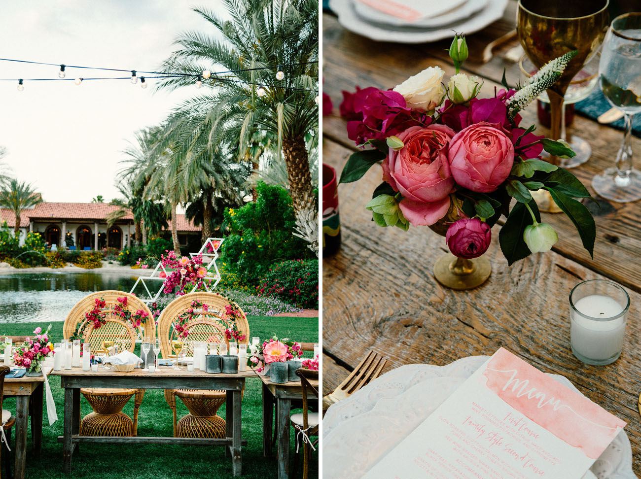 Bougainvillea filled palm springs wedding andrea brian green spanish desert wedding mightylinksfo