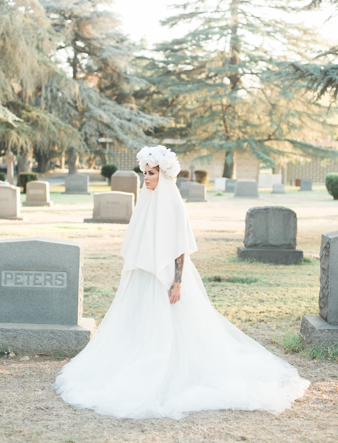 white bridal cape