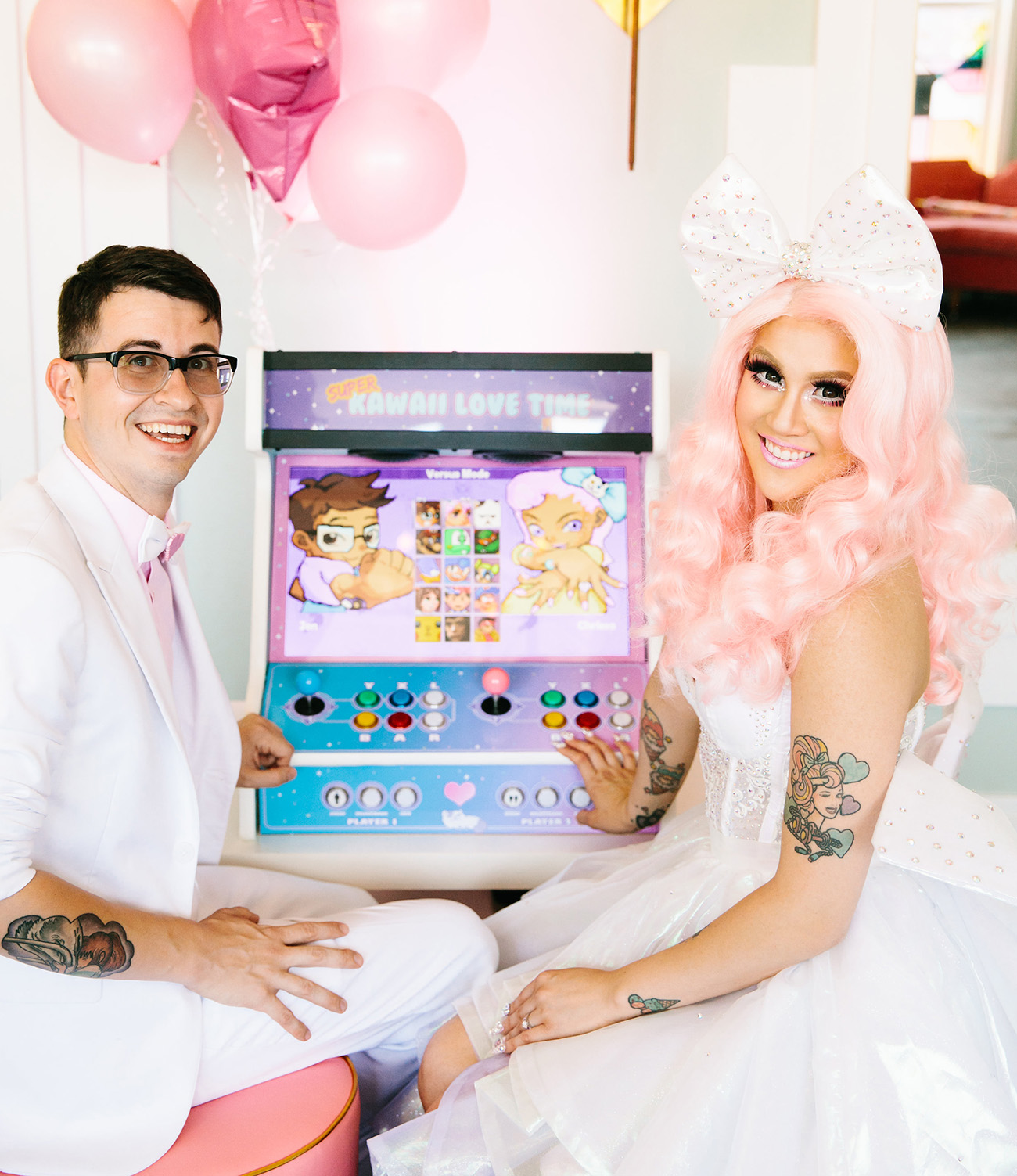 video game of the wedding couple created by the groom!!