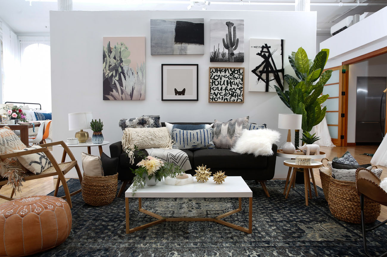 Modern boho interior design with wayfair registry green for Interior design and home decor