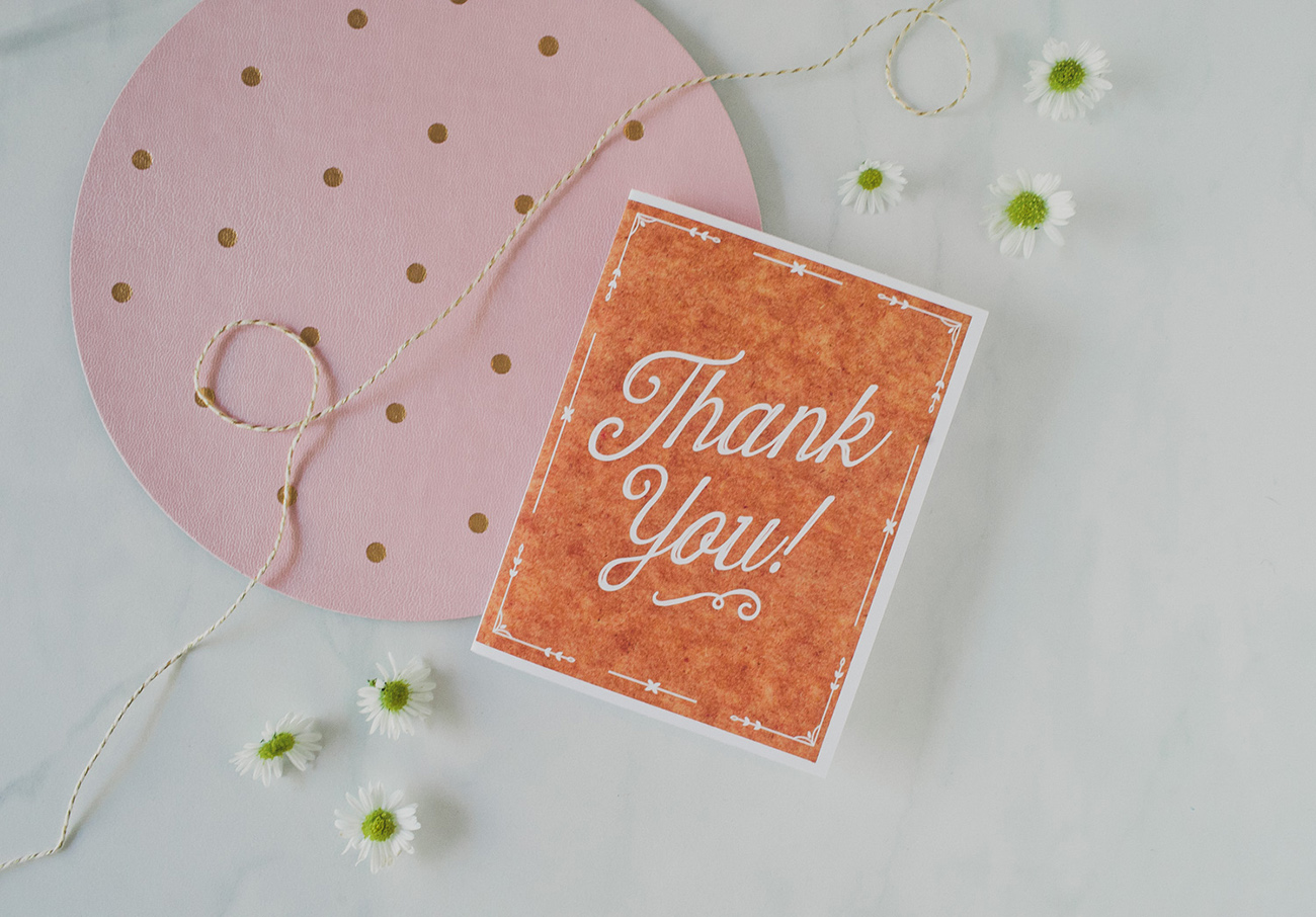 Free Thank You Card Template Rustic theme