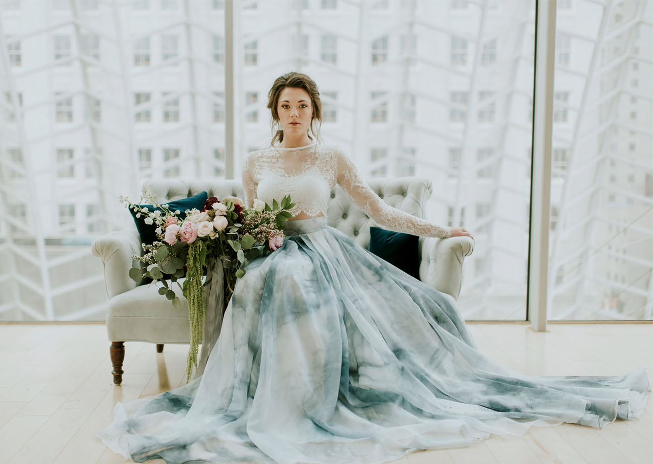A Blue Watercolor Wedding Dress - Green Wedding Shoes