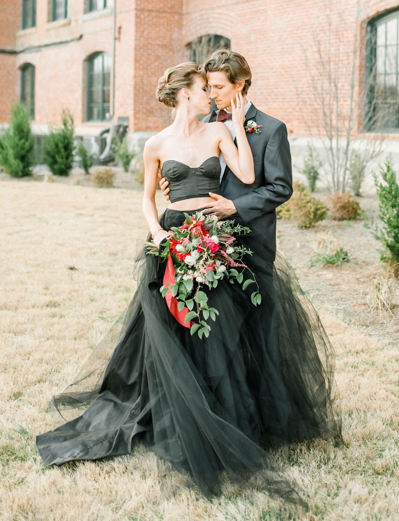 moody autumn wedding inspiration with a black wedding dress wedding dresses black Dark Wedding Inspiration