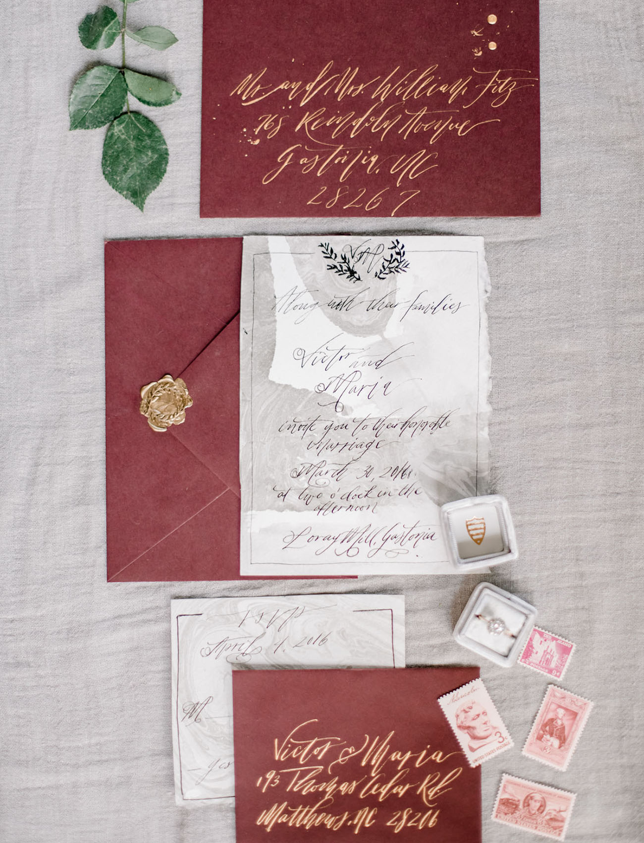 maroon invitation