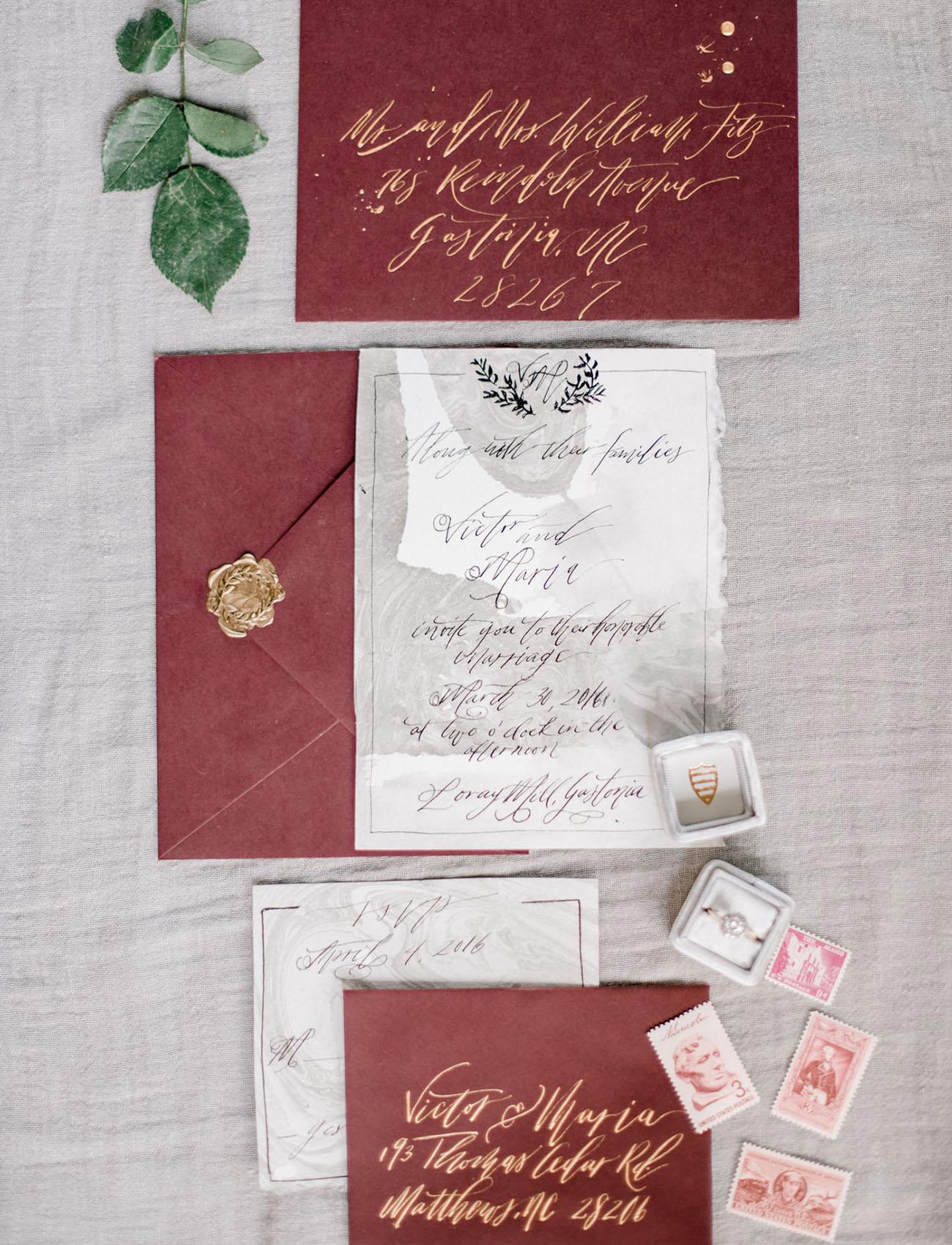 maroon invitation