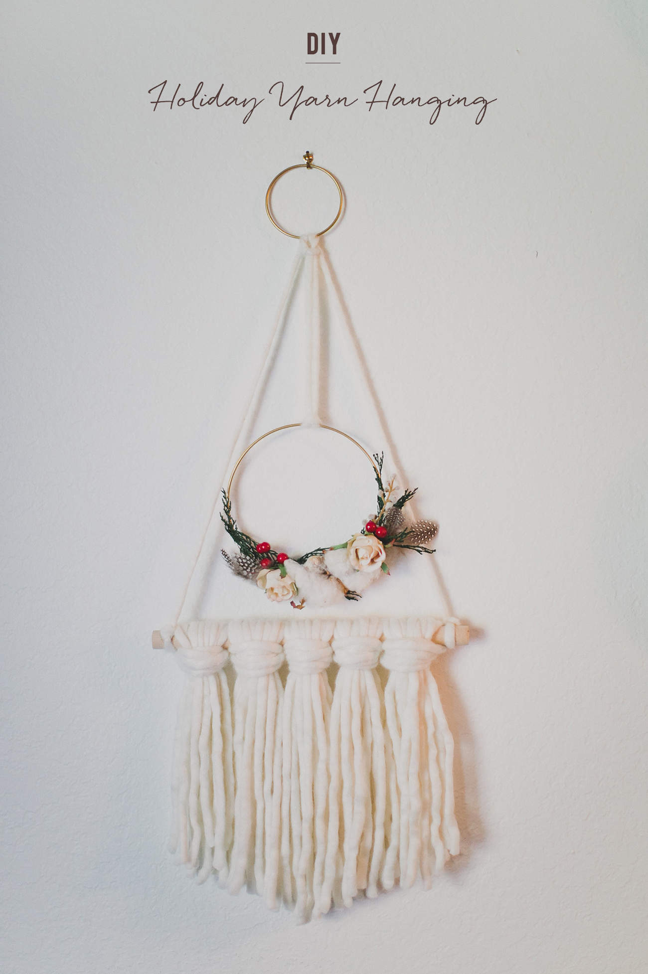 holiday yarn hanging DIY