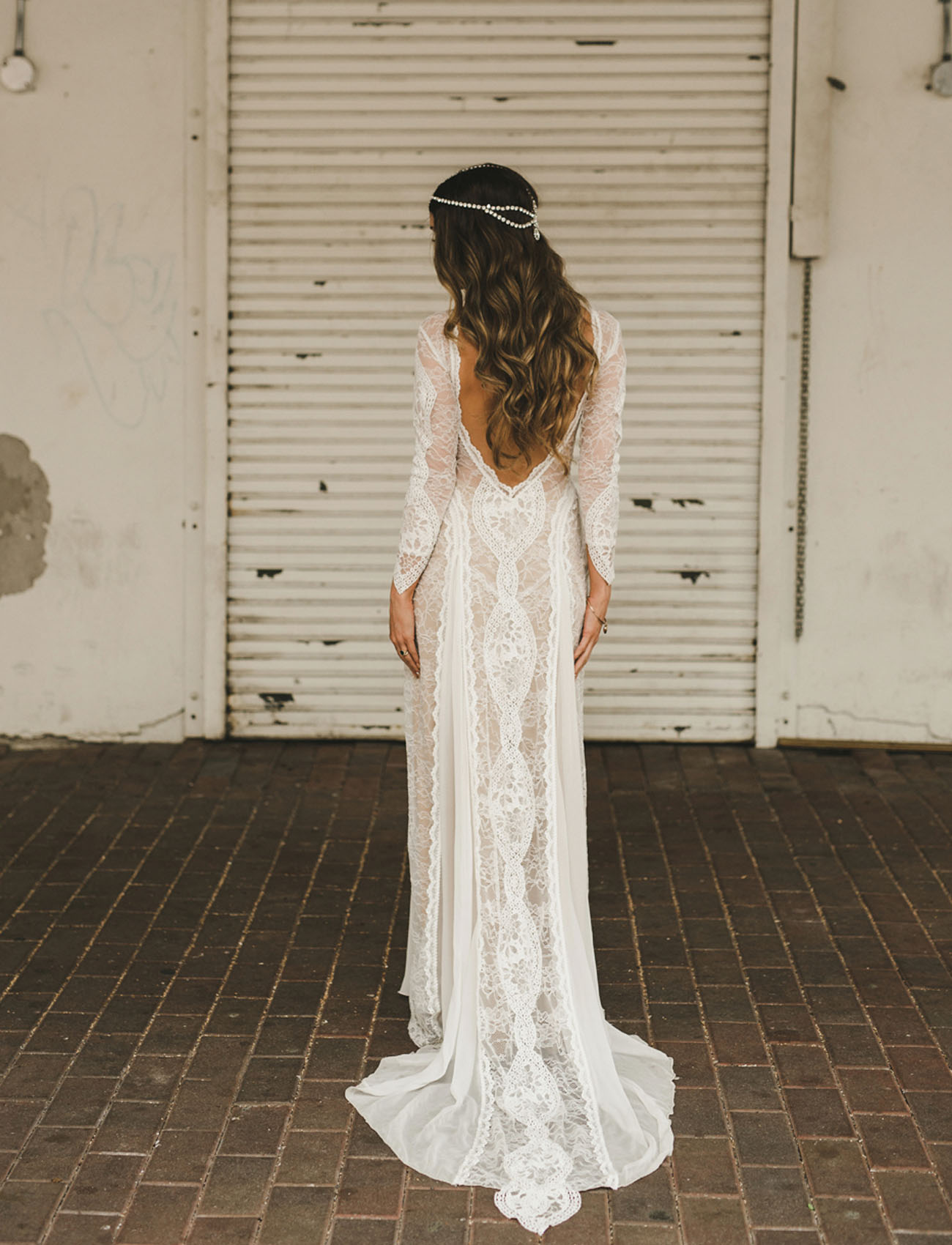 This Flowing Lace Bohemian Inspired Wedding Dress