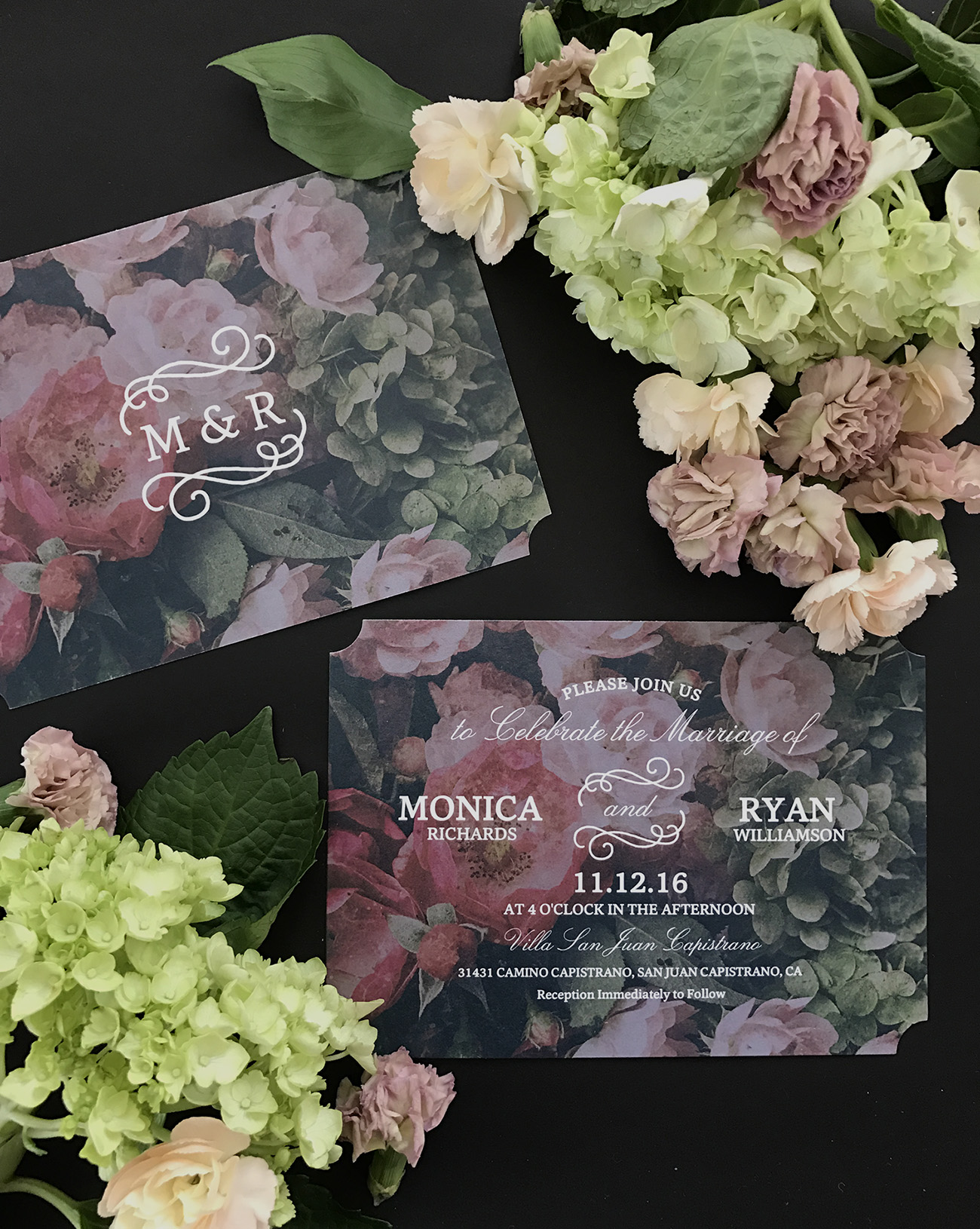shutterfly dark floral wedding invites