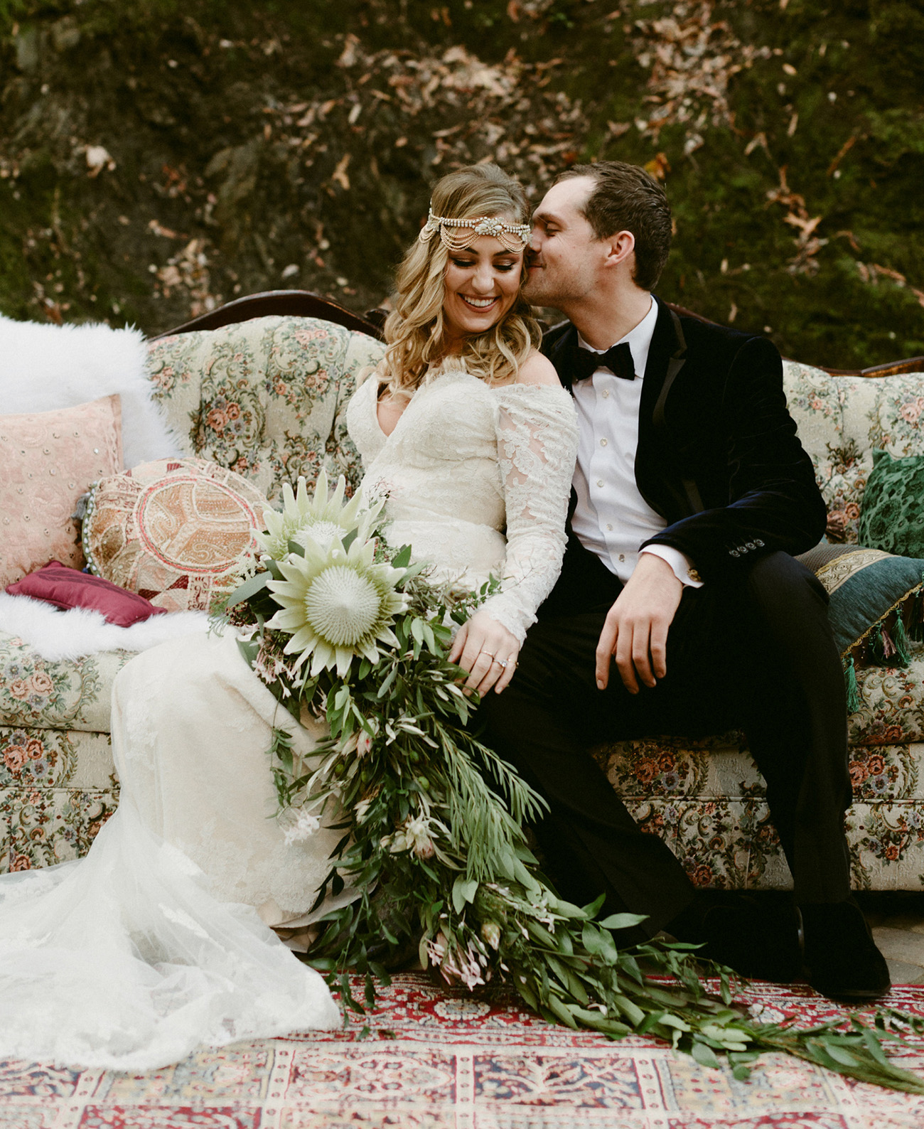 fairytale wedding with giant green protea bouquet