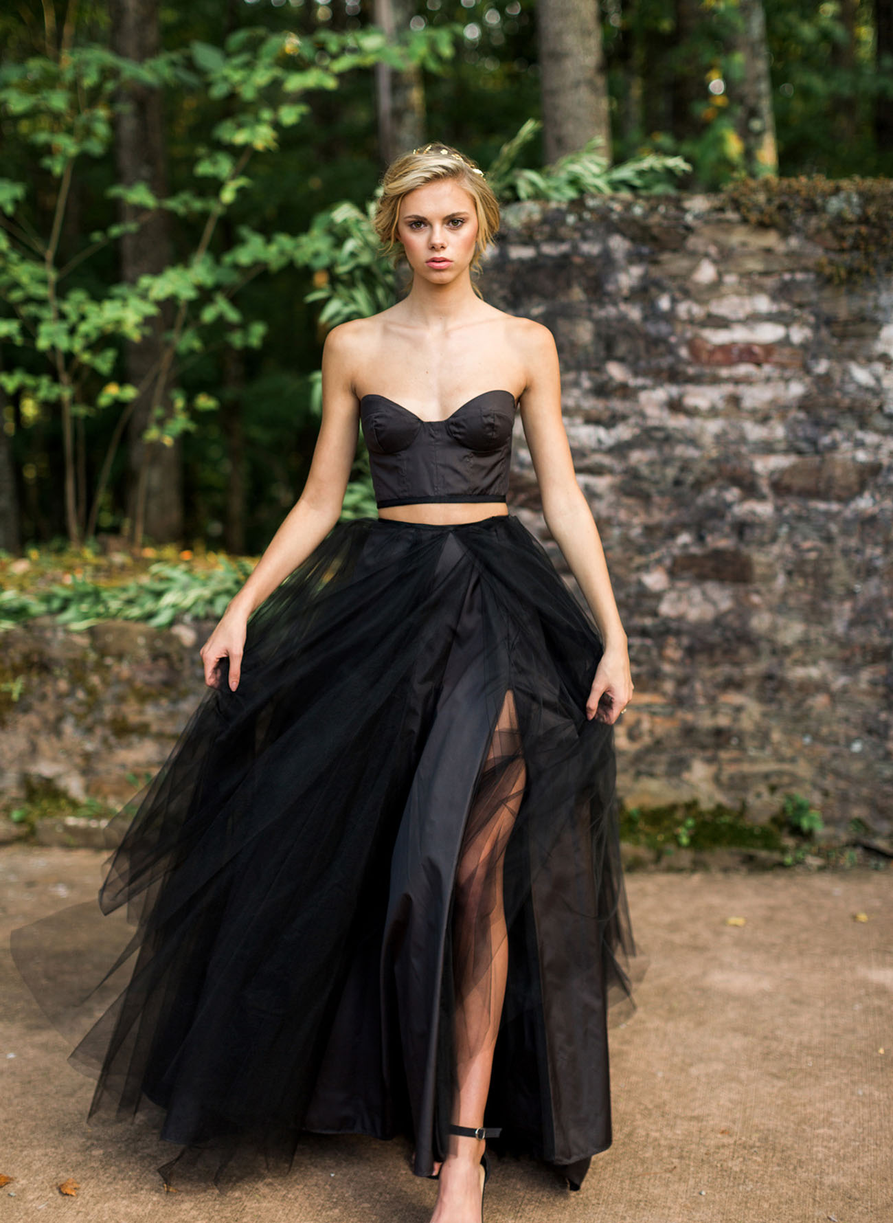 Our favorite wedding dresses from 2016 green wedding shoes this two piece black wedding dress with a tulle skirt junglespirit Images