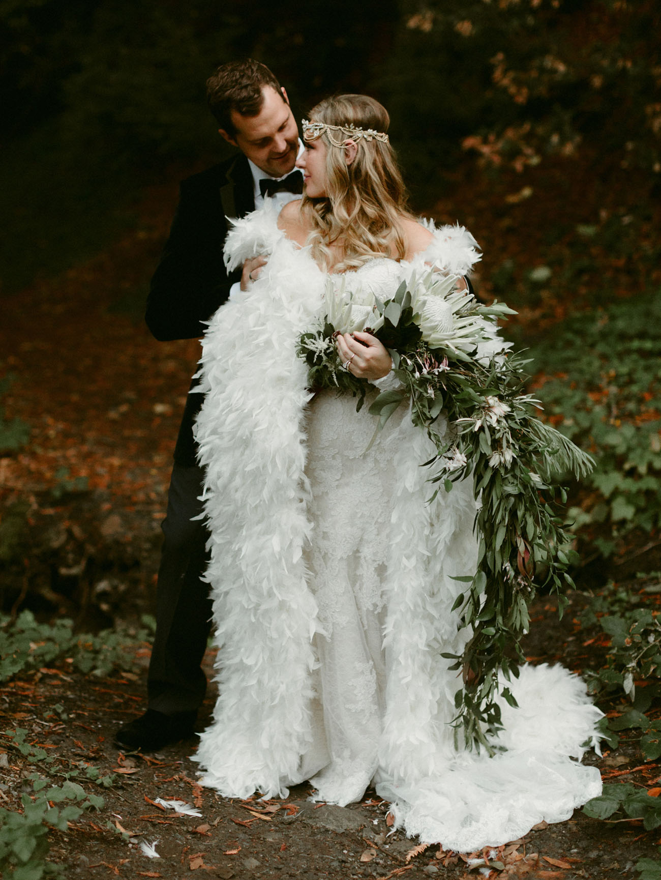 A Fairytale Forest Wedding with a Feather Cape - Green Wedding Shoes