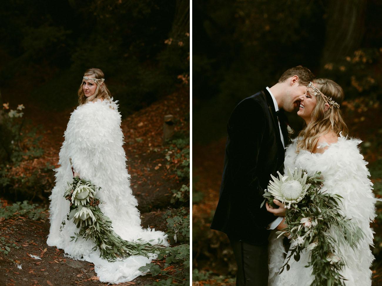 Boho Feather Cape Wedding