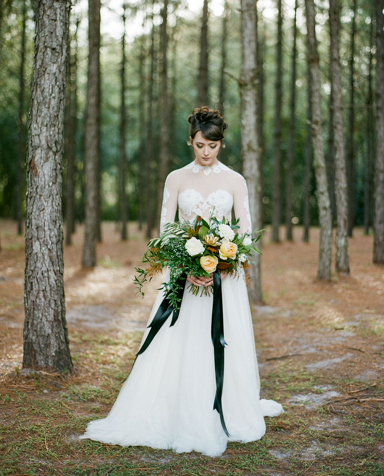 56b2a02706d3 Glam + Moody Holiday Wedding Inspiration in the Woods - Green ...