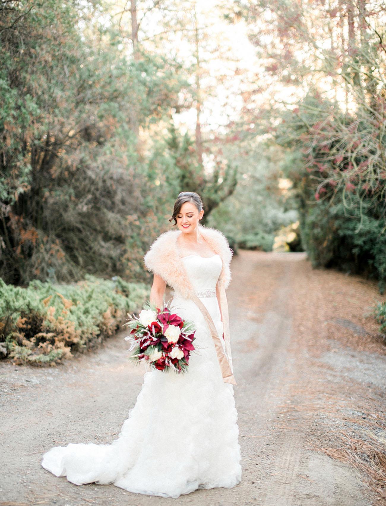 fur wrap bride