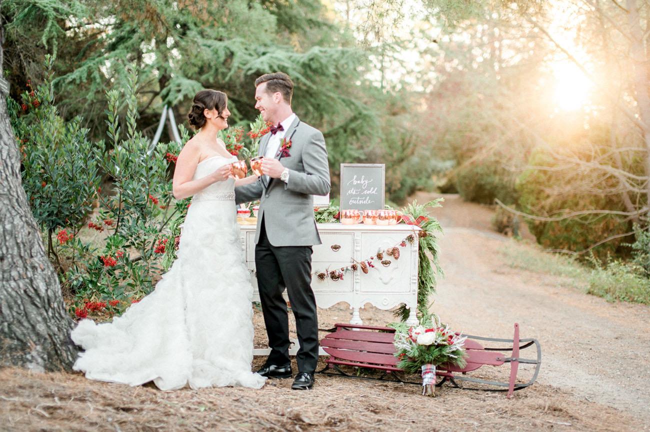 plaid holiday winter wedding inspiration | green wedding shoes