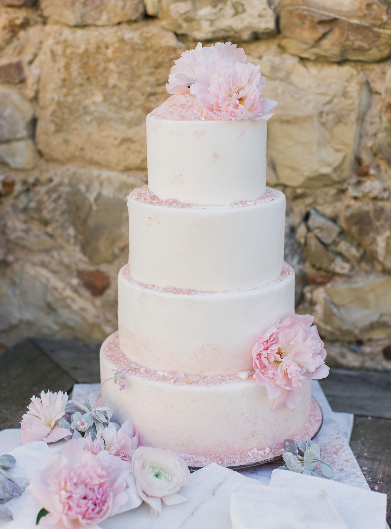 pink sea salt wedding cake