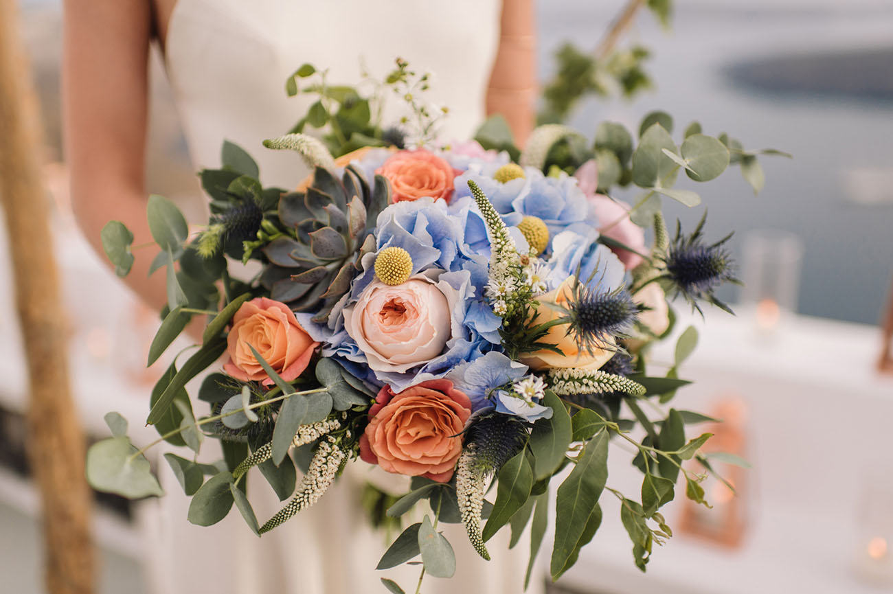 blue and garden rose bouquet