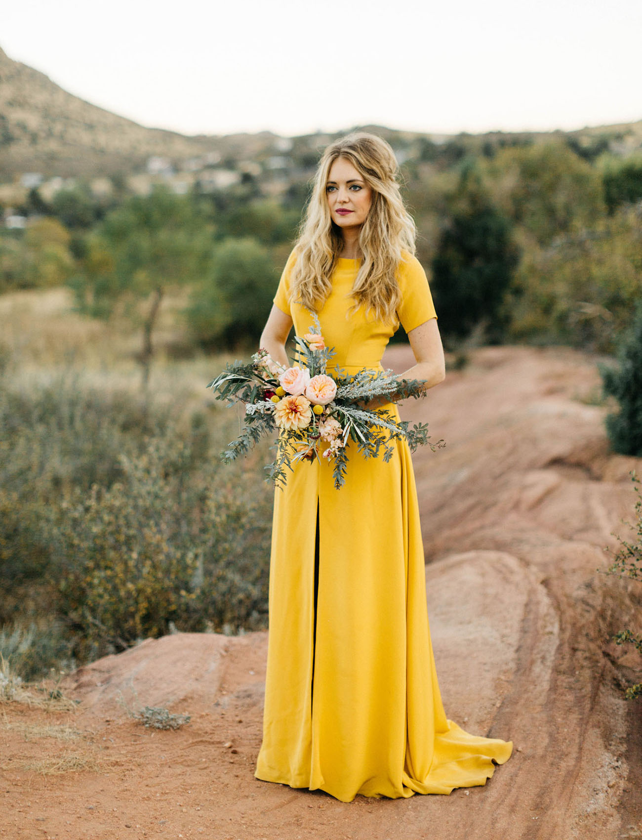 This Bold Sleek Mustard Yellow Wedding Dress