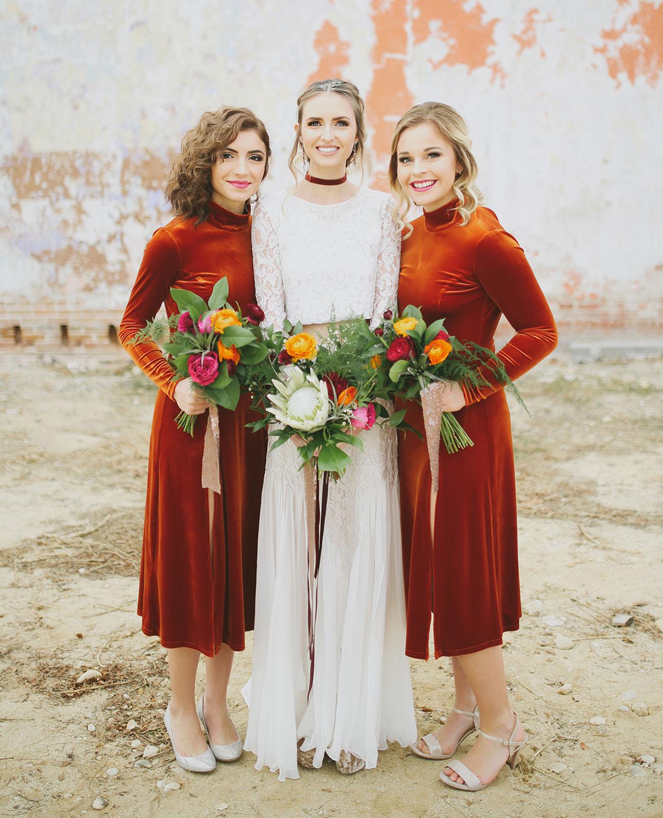 velvet bridesmaids