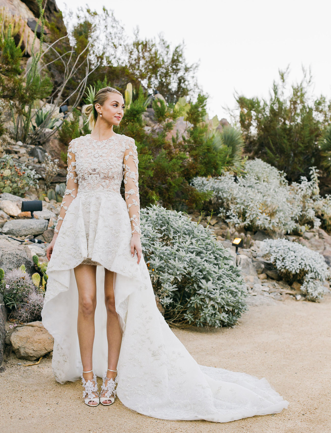Whitney Ports High Low Beaded Wedding Dress