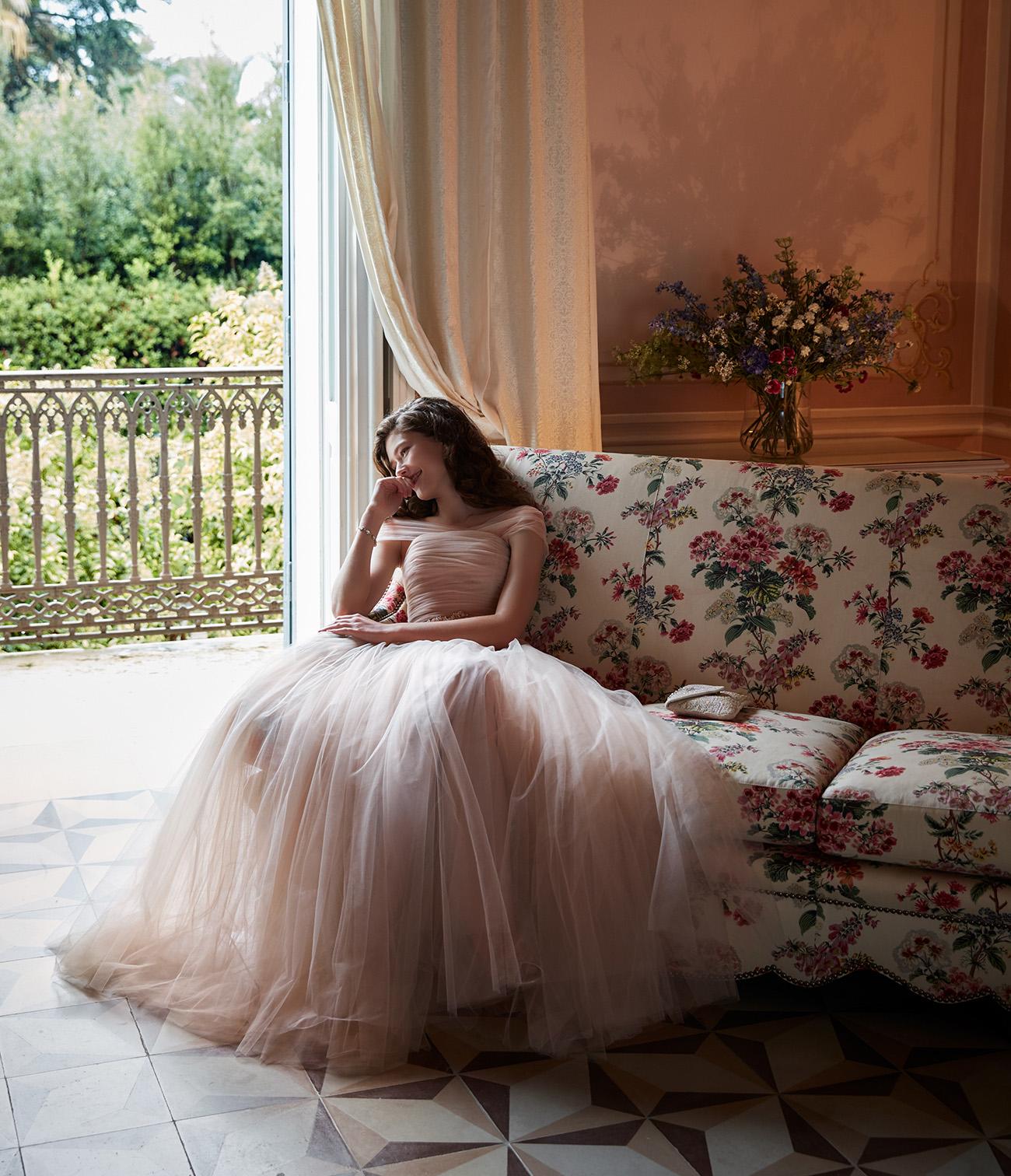 BHLDN dress in blush tulle